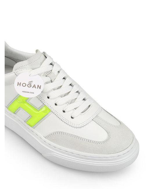 Sneaker Hogan H365 in Leder Weiss und Glitzer Silber