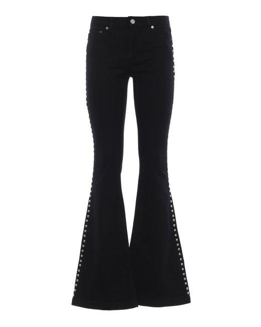 Michael Kors Black Selma Stud Embellished Flared Jeans