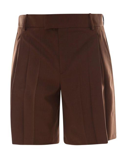 Valentino Brown Cotton Sartorial Bermuda Trousers for men