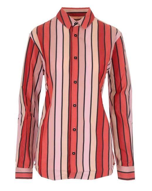 Camicia a righe rossa e rosa di Marni in Red