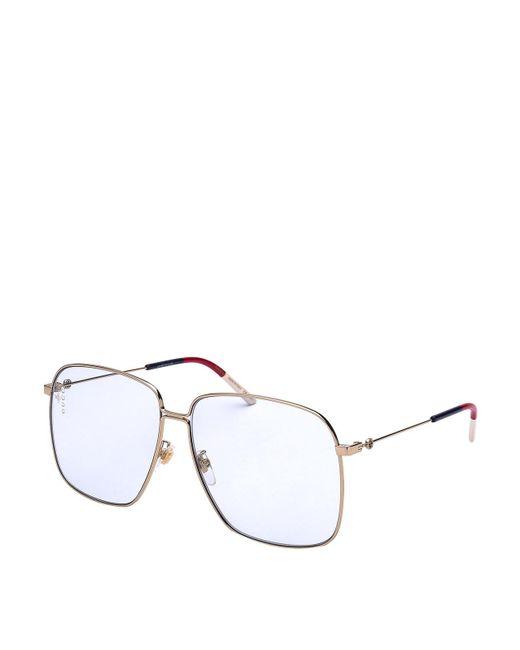 Gucci Metallic Gold-tone Metal Ultralight Sunglasses
