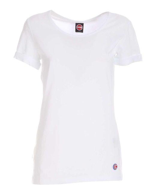 T-shirt bianca con patch logo di Colmar in White