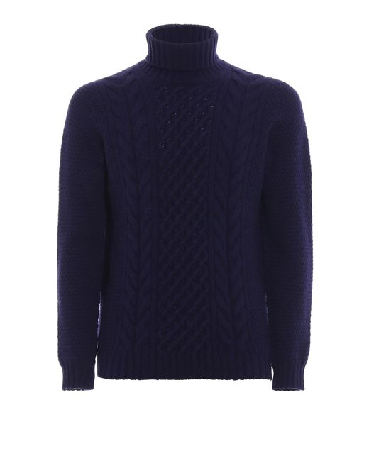 Drumohr Purple Lambswool Cable Stitch Turtleneck Sweater for men