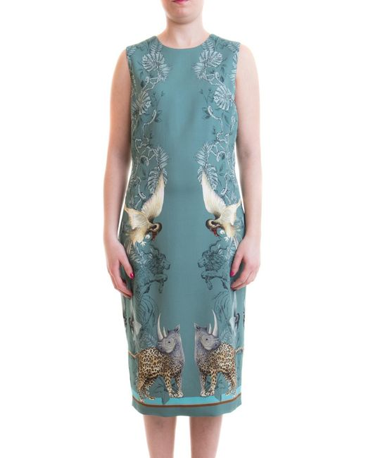Roberto Cavalli Blue Hybrid Animals Print Viscose Dress