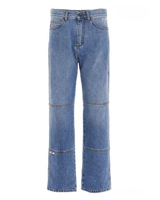 Jeans in denim con cuciture a contrasto di MSGM in Blue da Uomo