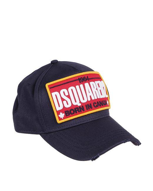 Cappellino in cotone con patch logo di DSquared² in Blue da Uomo