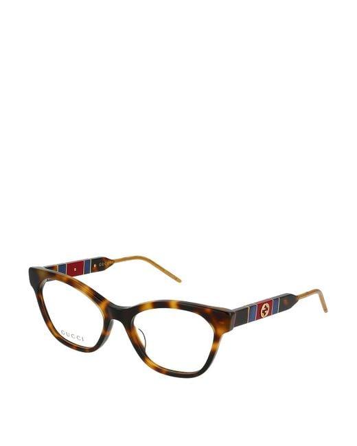 Gucci Brown Web Detail Havana Optical Glasses