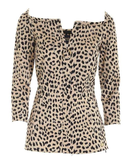 Class Roberto Cavalli Natural Animal Print Blouse In Black And Beige