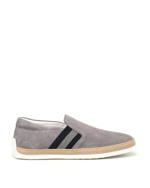 Tod's Gray Raffia Trimmed Grey Suede Slip-ons for men