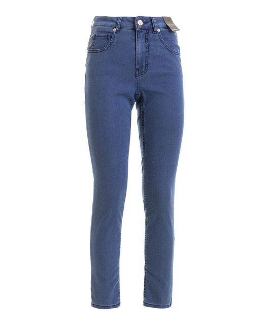 Jeans a vita alta in denim di Angelo Marani in Blue