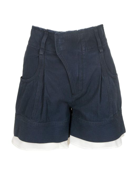 Chloé Lingerie Detailed High-waisted Shorts In Blue