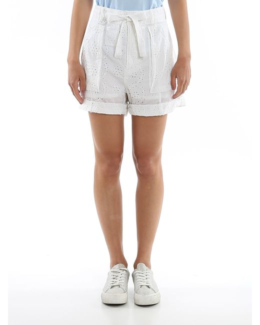 Polo Ralph Lauren Women's White Broderie Anglaise Cotton Shorts