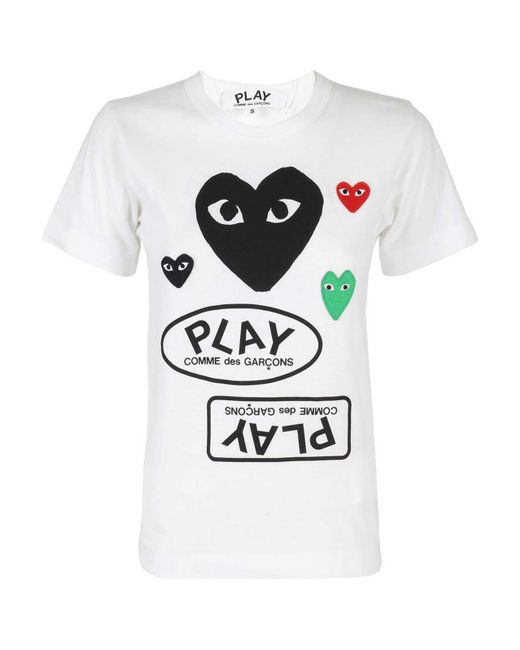 T-shirt con applicazioni Heart di COMME DES GARÇONS PLAY in White