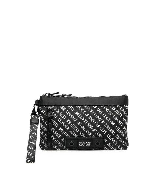 Versace Monogram Printed Clutch Bag In Black for men