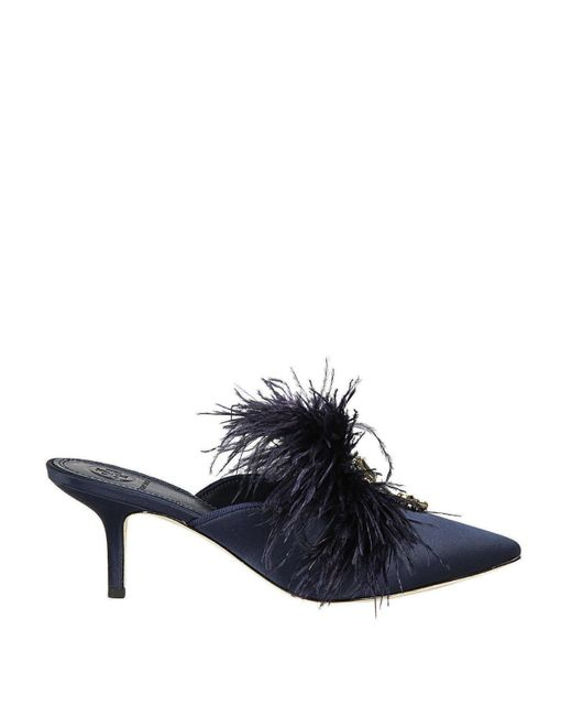 Tory Burch Blue Elodie Satin Jewel Mules With Feathers