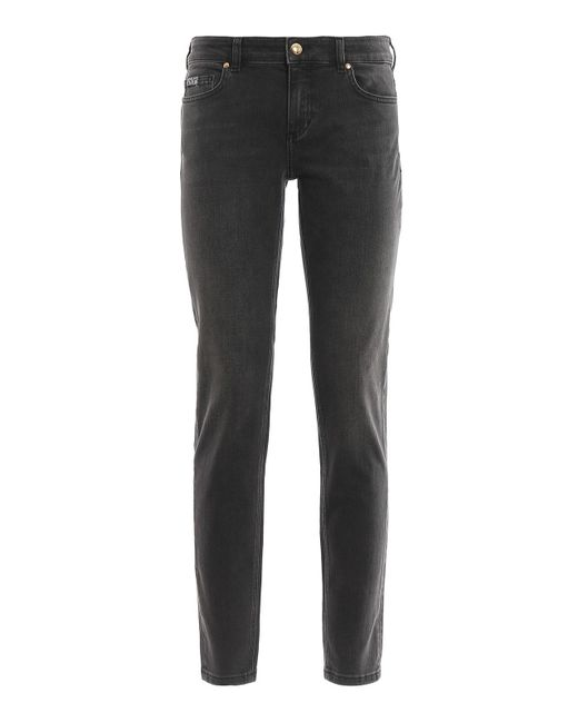 Versace Jeans Gray Golden Button Faded Jeans
