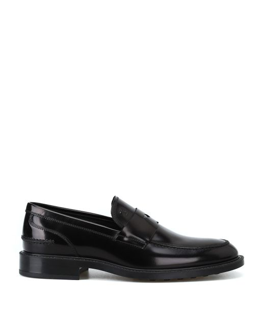 Tod's Black Brushed Leather Loafers With Penny Bar for men