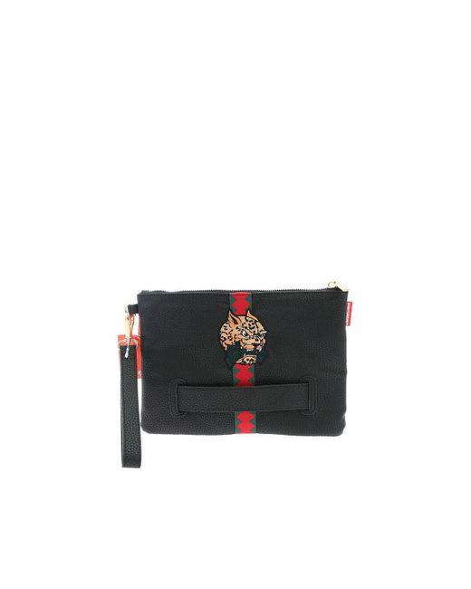 Sprayground Contrasting Detail Clutch Bag In Black