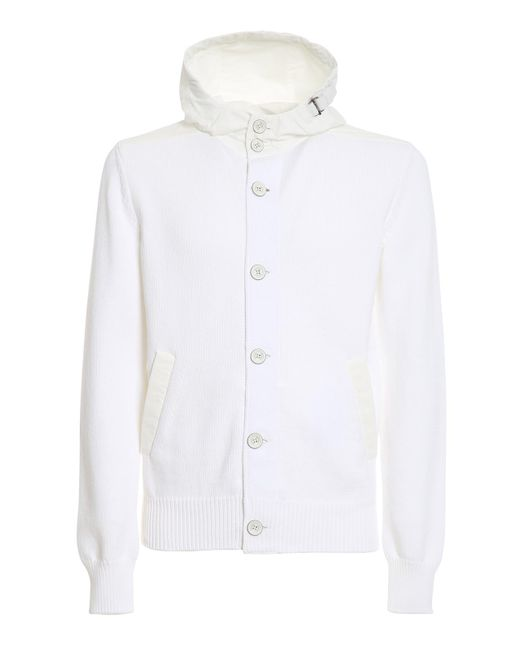 Herno White Knitted Cardigan for men