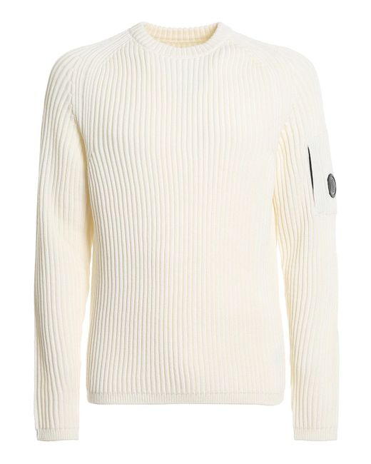 C P Company White Ribbed Crewneck Sweater for men