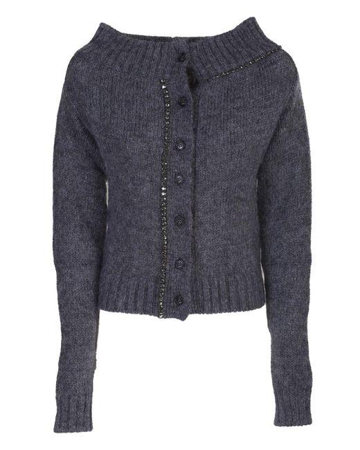Cardigan in lana mohair grigio di N°21 in Gray
