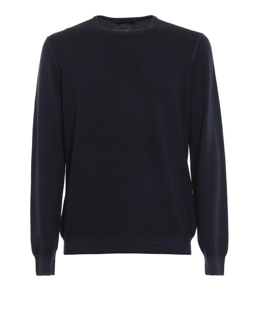 Fay Blue Virgin Wool Soft Crew Neck Pullover for men