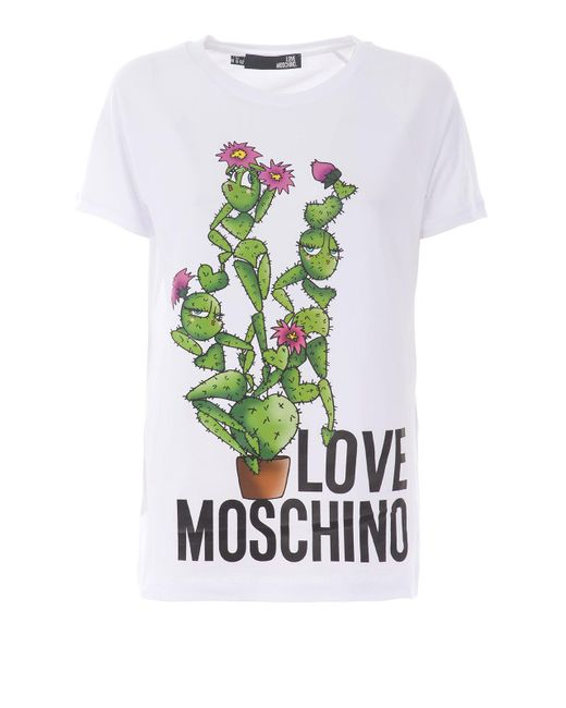 Love Moschino White Cactus Print Short Sleeve T-shirt