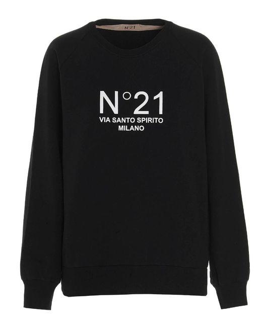 Felpa stampa logo a contrasto nera di N°21 in Black