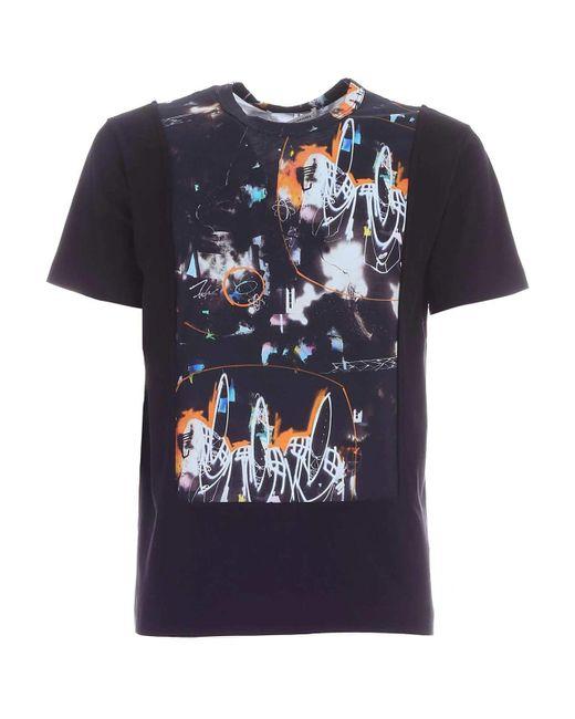 T-shirt nera con stampa astratta di Comme des Garçons in Black da Uomo