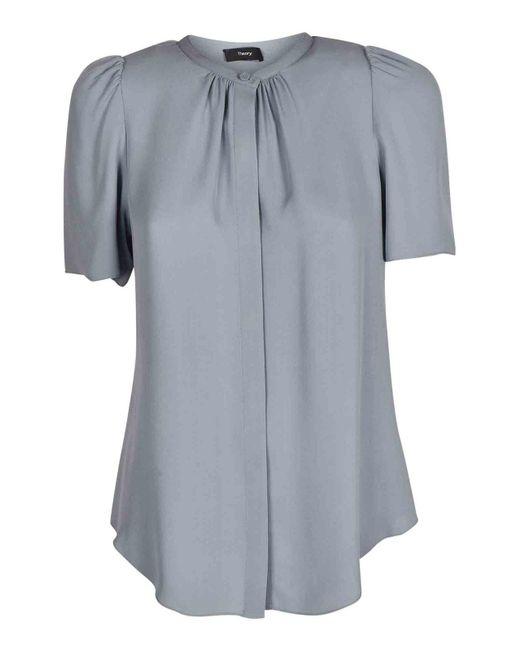 Theory Blue Silk Shirt