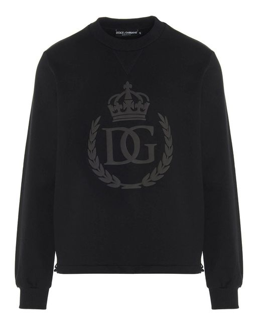 Felpa logo DG gommato nera di Dolce & Gabbana in Black da Uomo