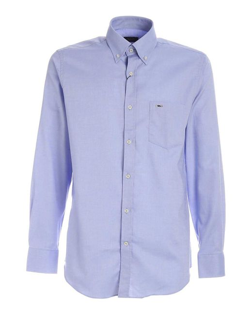 Camicia azzurra con dettaglio logo di Paul & Shark in Blue da Uomo