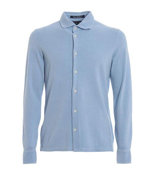 Mc2 Saint Barth Blaze Light Blue Pique Cotton Shirt for men