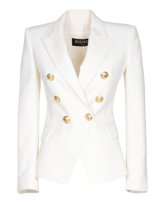 Balmain White Wool Blazer