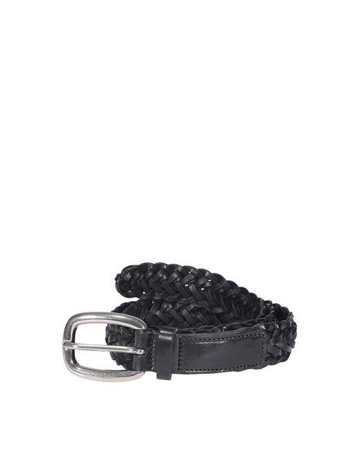 Golden Goose Deluxe Brand Black Woven Leather Belt for men