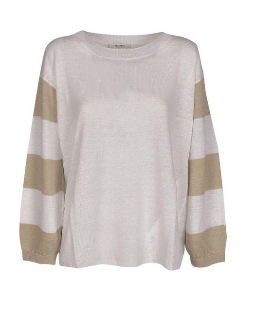 Max Mara Ruth Sweater In White And Beige