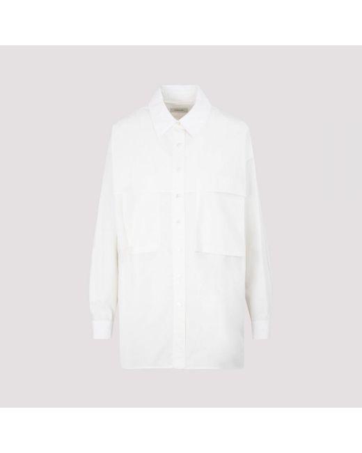Lemaire White Storm-flap Cargo-pocket Cotton Shirt
