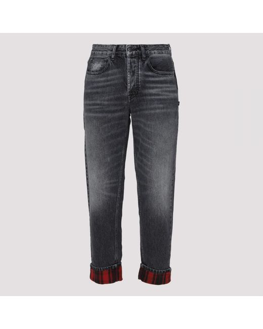 Marcelo Burlon Embroidered Gray Jeans for men