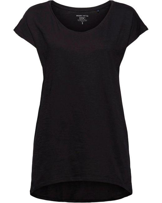 Edc By Esprit Black Longshirt, Mit überschnittener Schulter