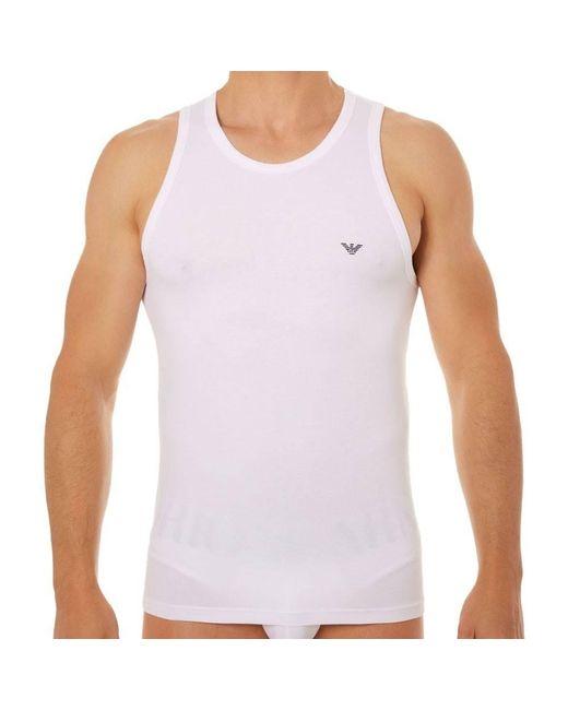 Débardeur Stretch Cotton Eagle Emporio Armani pour homme en coloris White
