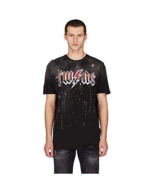 DSquared² Black Distressed Lightning T-shirt for men