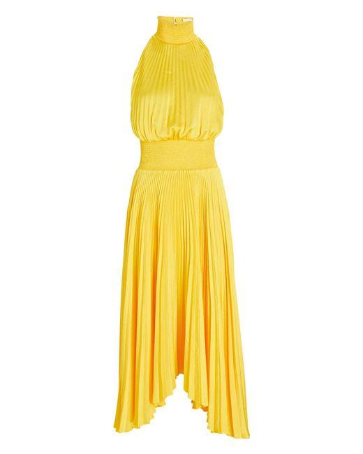 A.L.C. Yellow Renzo Pleated Midi Dress