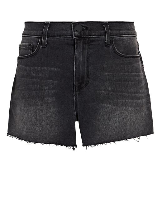 L'Agence Black Audrey Cut-off Denim Shorts