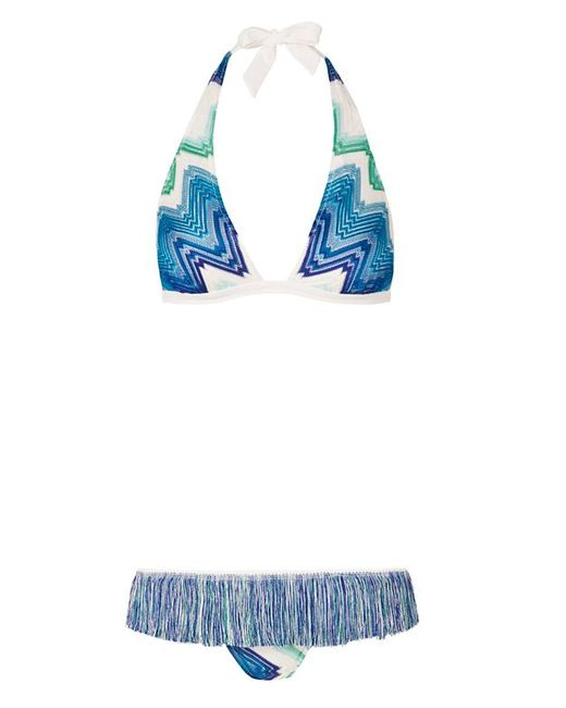 missoni fringe trim knit bikini in blue lyst. Black Bedroom Furniture Sets. Home Design Ideas