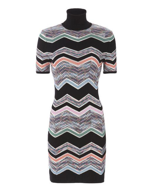 Missoni | Black Zig Zag Short Sleeved Turtleneck Dress | Lyst