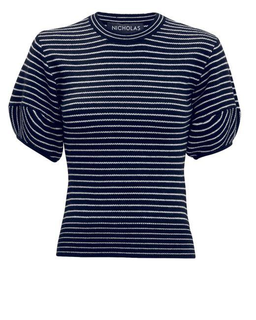 Nicholas - Black Stripe Puff Sleeve Top - Lyst