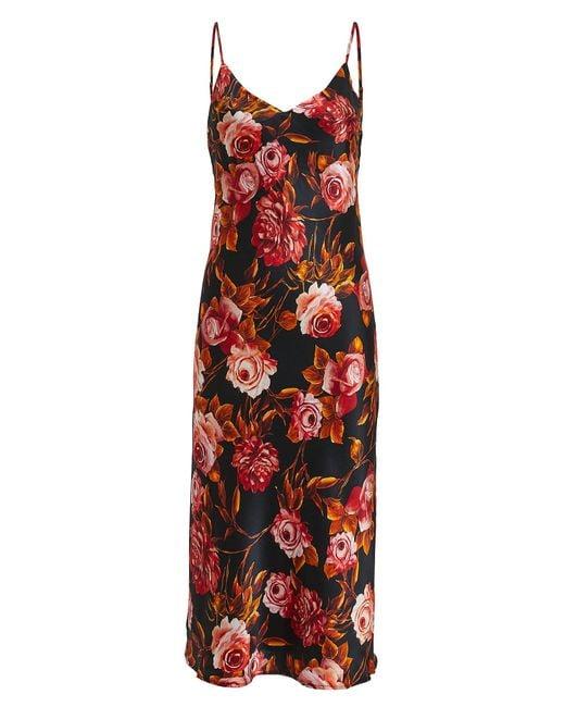 L'Agence Red Jodie Basalt Floral Silk Dress