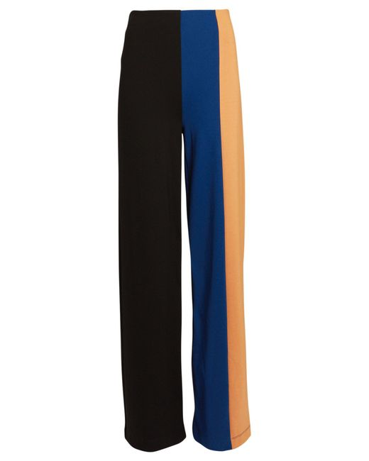 Staud Blue Connor Colorblock Knit Wide-leg Pants