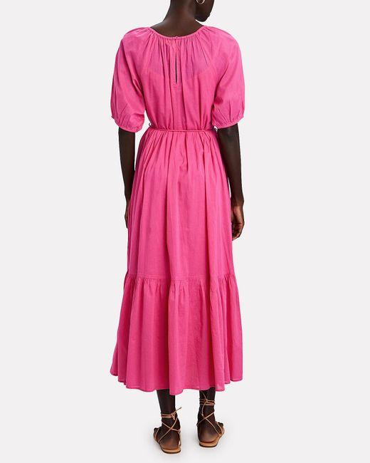Apiece Apart Pink Simone Tiered Cotton Midi Dress