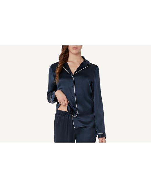 Intimissimi - Blue Silk Satin Boyfriend-fit Pajama Top - Lyst